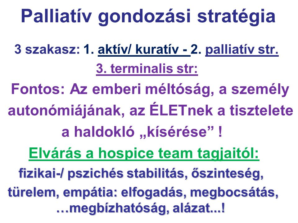 Palliatív gondozási stratégia
