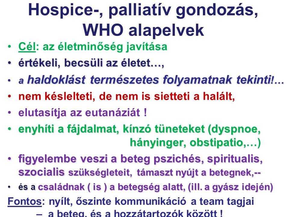 Hospice-, palliatív gondozás, WHO alapelvek