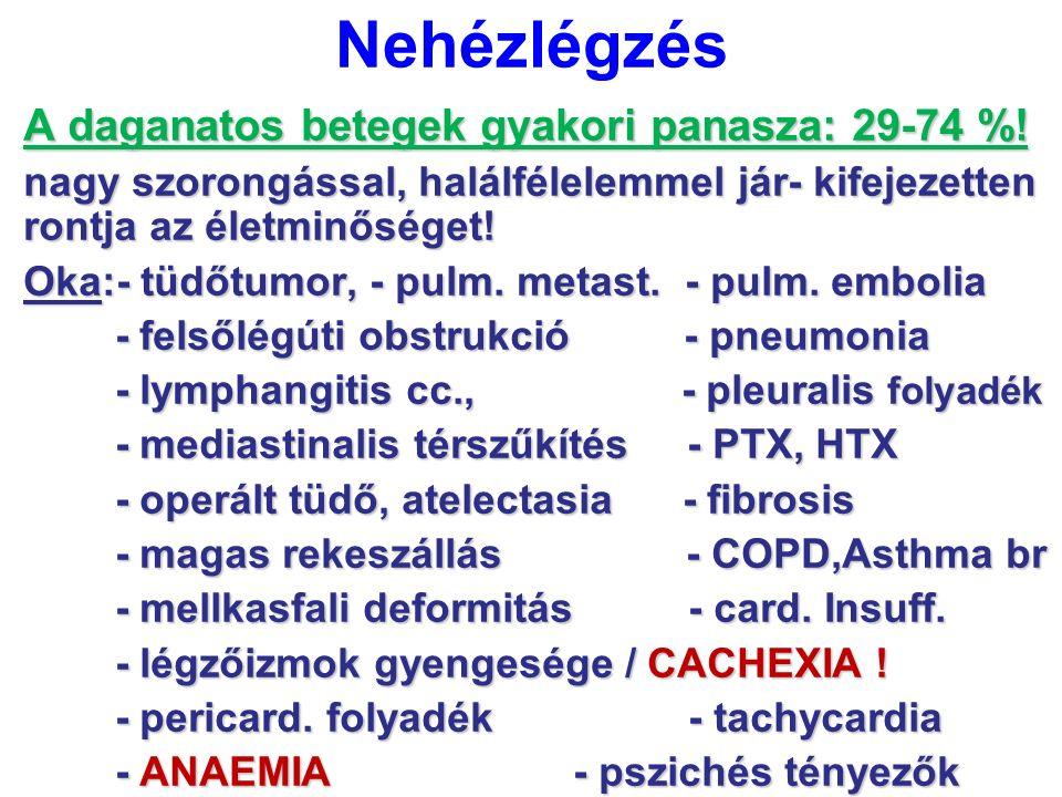 Nehézlégzés A daganatos betegek gyakori panasza: 29-74 %!