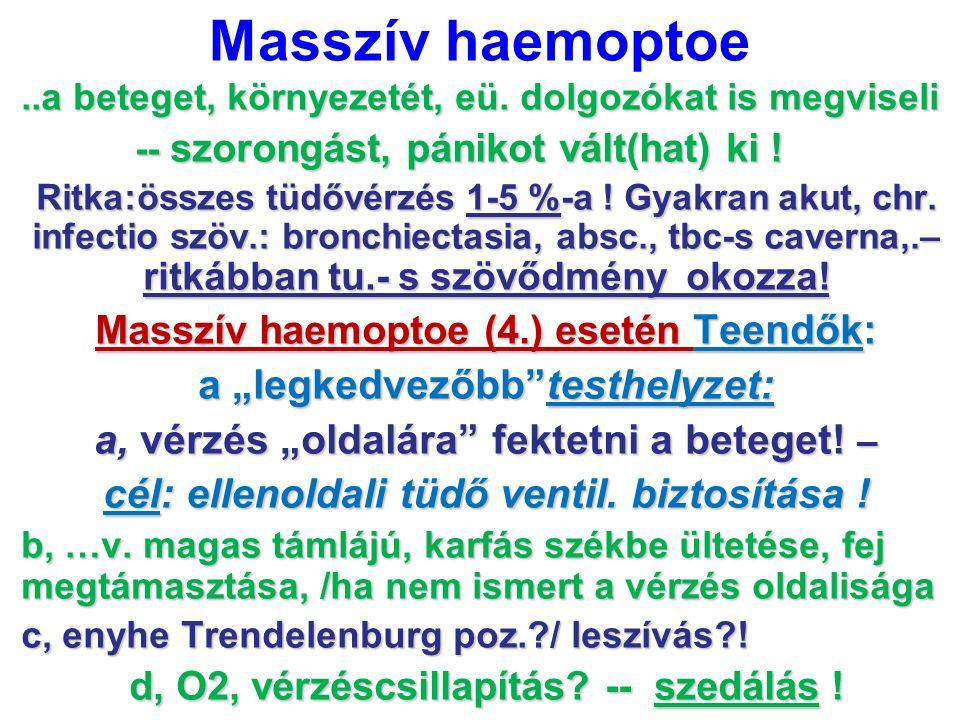 """Masszív haemoptoe a """"legkedvezőbb testhelyzet:"""