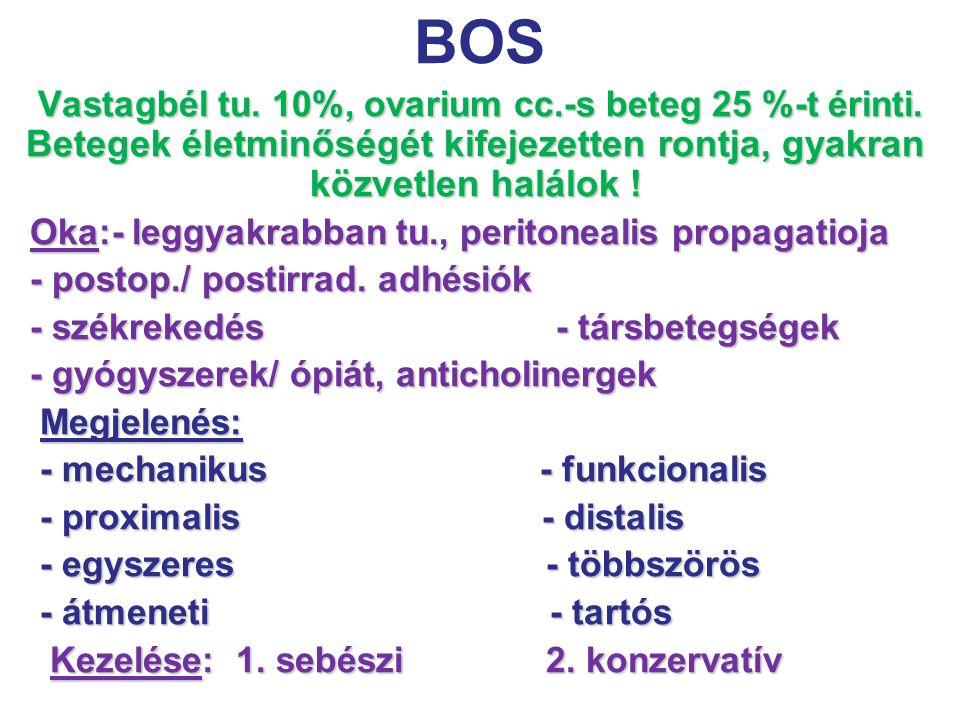 BOS Oka:- leggyakrabban tu., peritonealis propagatioja