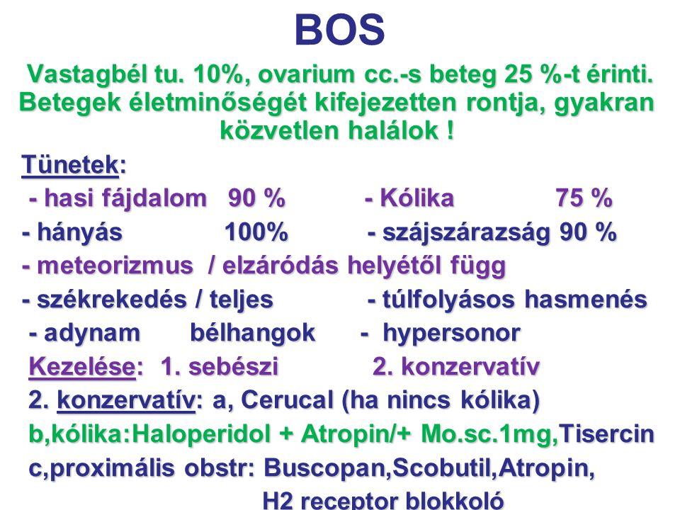 BOS Tünetek: - hasi fájdalom 90 % - Kólika 75 %