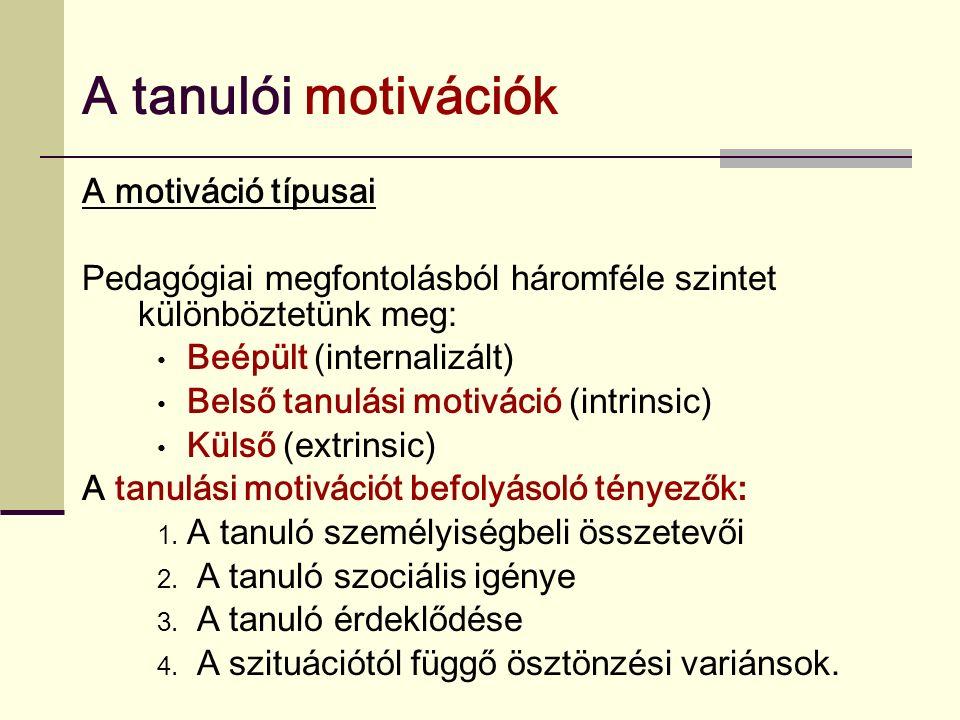 A tanulói motivációk A motiváció típusai