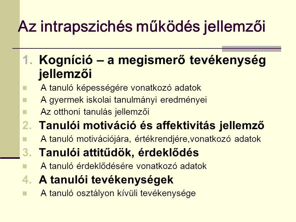 Az intrapszichés működés jellemzői