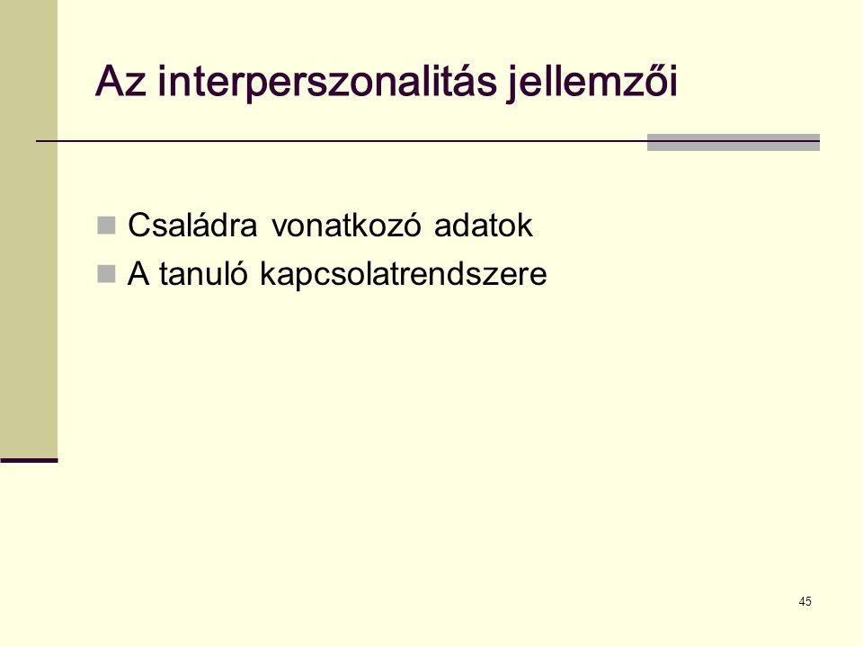Az interperszonalitás jellemzői