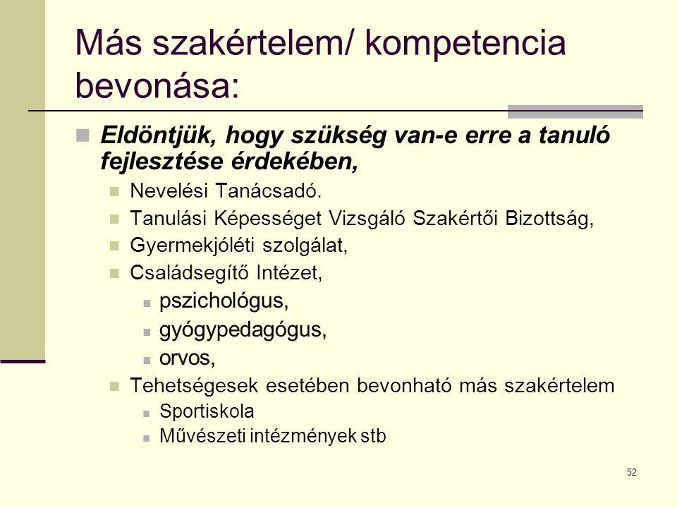 Más szakértelem/ kompetencia bevonása: