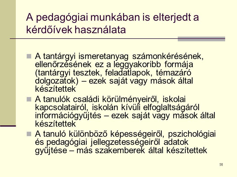 A pedagógiai munkában is elterjedt a kérdőívek használata