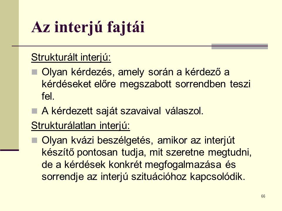 Az interjú fajtái Strukturált interjú: