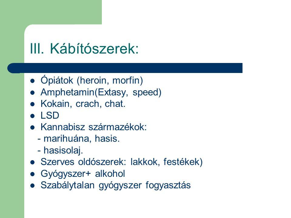 III. Kábítószerek: Ópiátok (heroin, morfin) Amphetamin(Extasy, speed)