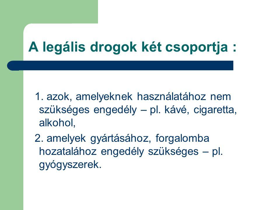 A legális drogok két csoportja :