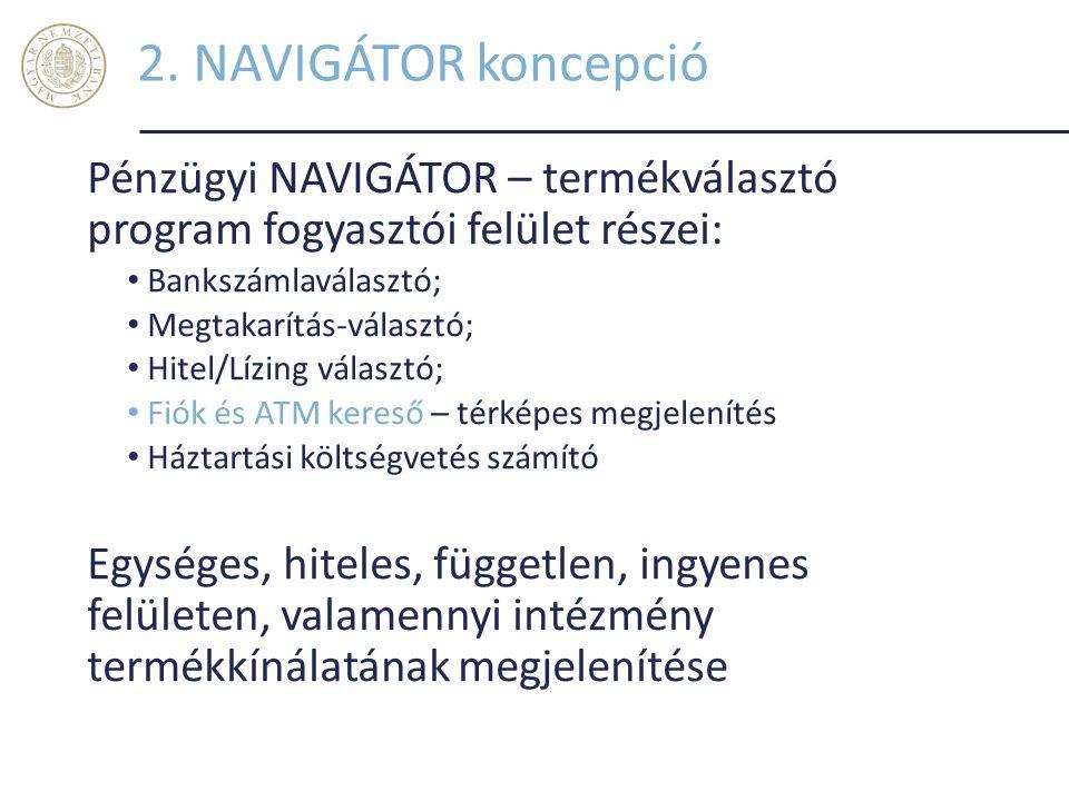 2. NAVIGÁTOR koncepció Pénzügyi NAVIGÁTOR – termékválasztó program fogyasztói felület részei: Bankszámlaválasztó;