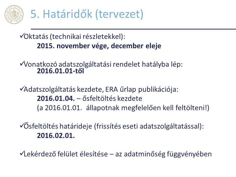 5. Határidők (tervezet) Oktatás (technikai részletekkel):