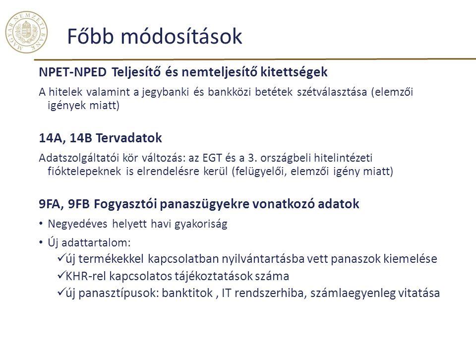 Főbb módosítások NPET-NPED Teljesítő és nemteljesítő kitettségek