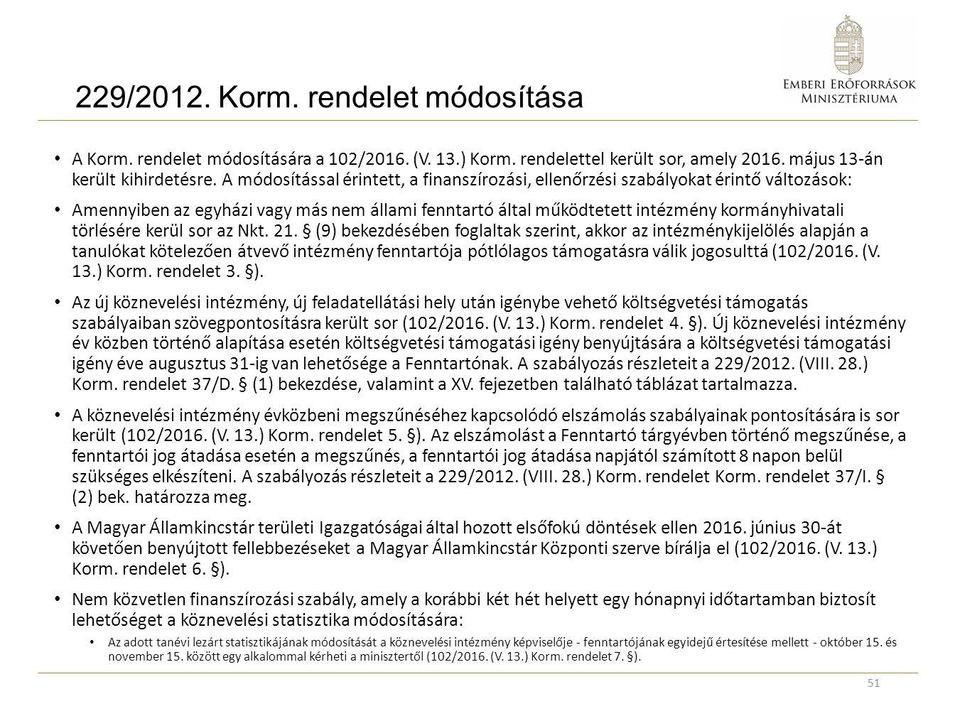 229/2012. Korm. rendelet módosítása