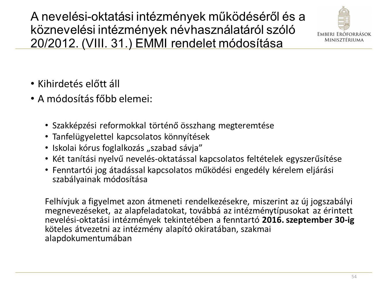 A nevelési-oktatási intézmények működéséről és a köznevelési intézmények névhasználatáról szóló 20/2012. (VIII. 31.) EMMI rendelet módosítása