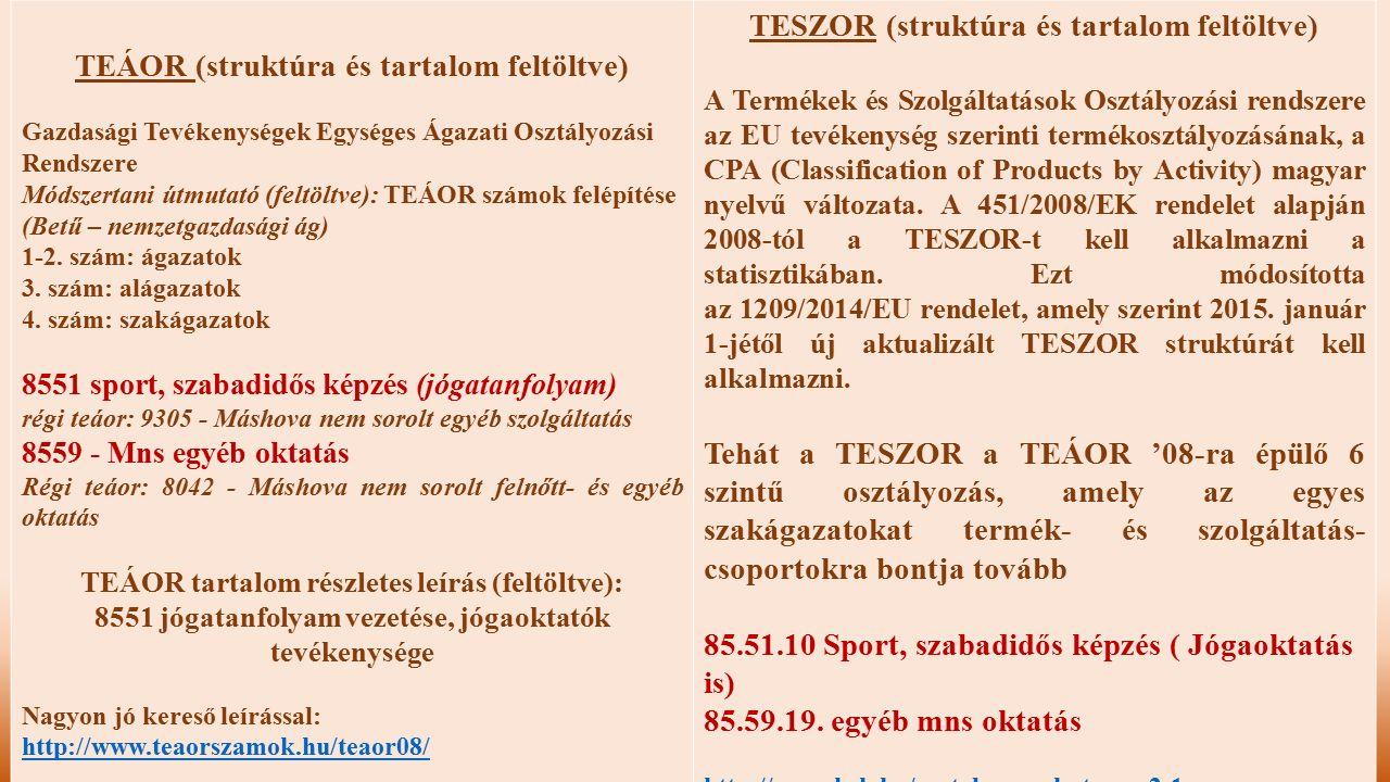 TEÁOR (struktúra és tartalom feltöltve)