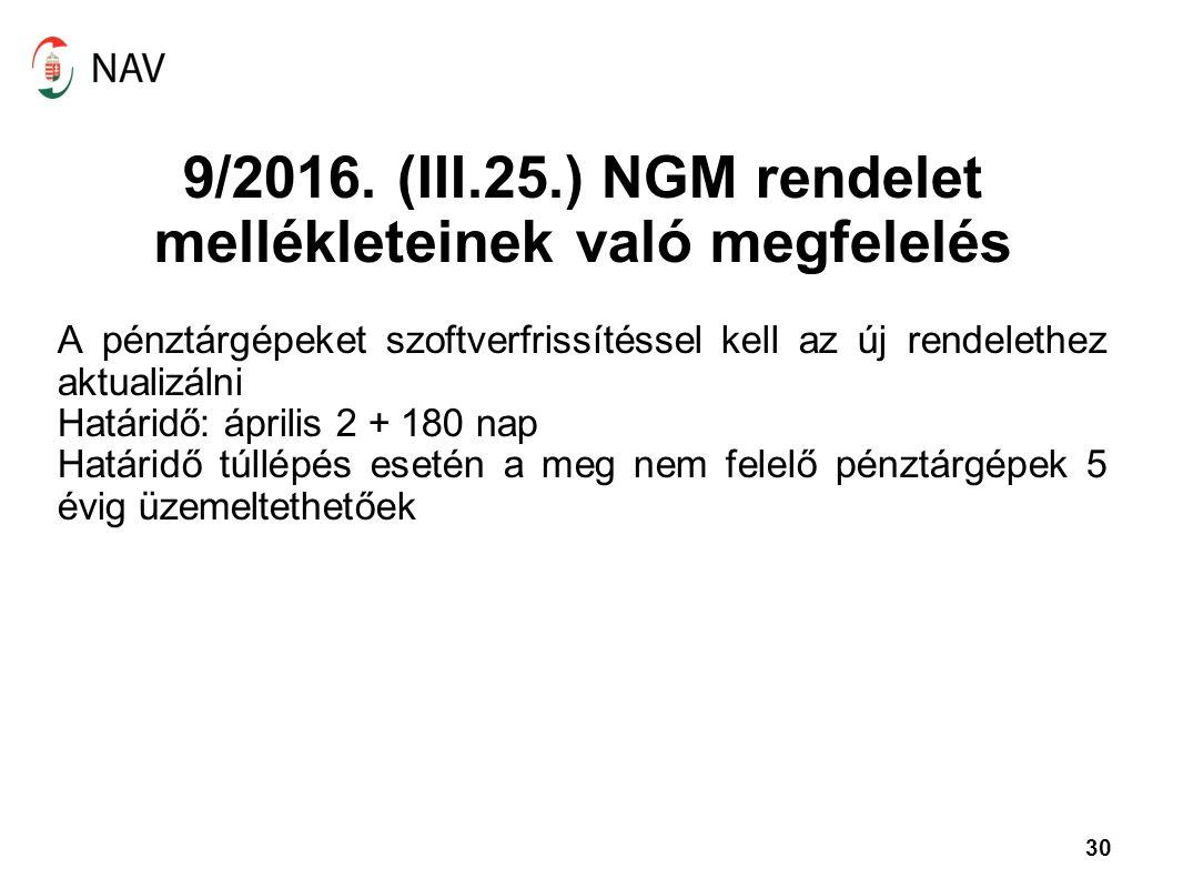 9/2016. (III.25.) NGM rendelet mellékleteinek való megfelelés