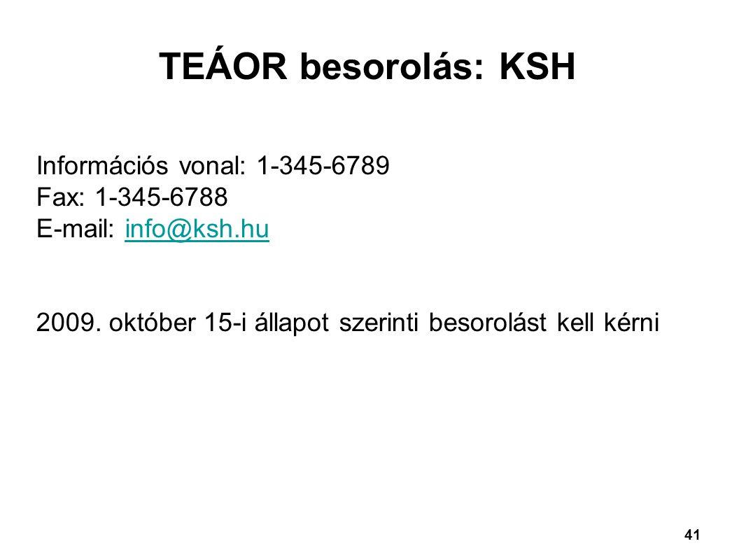 TEÁOR besorolás: KSH Információs vonal: 1-345-6789 Fax: 1-345-6788