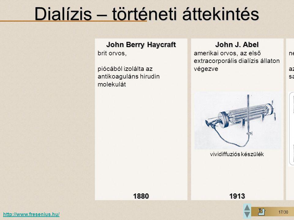 Dialízis – történeti áttekintés