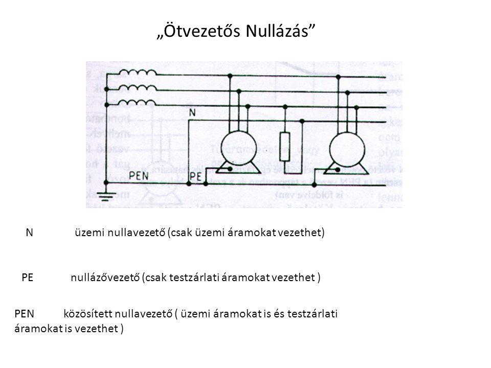 """""""Ötvezetős Nullázás N üzemi nullavezető (csak üzemi áramokat vezethet) PE nullázővezető (csak testzárlati áramokat vezethet )"""