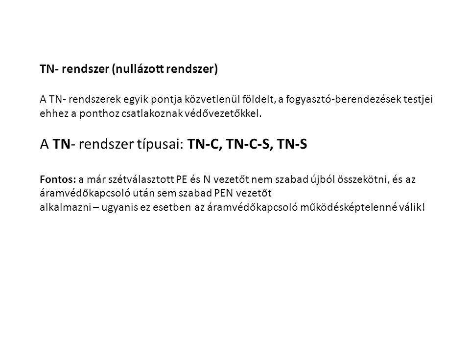 A TN- rendszer típusai: TN-C, TN-C-S, TN-S