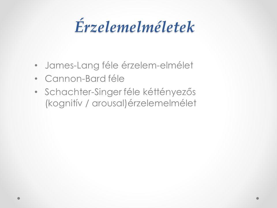 Érzelemelméletek James-Lang féle érzelem-elmélet Cannon-Bard féle