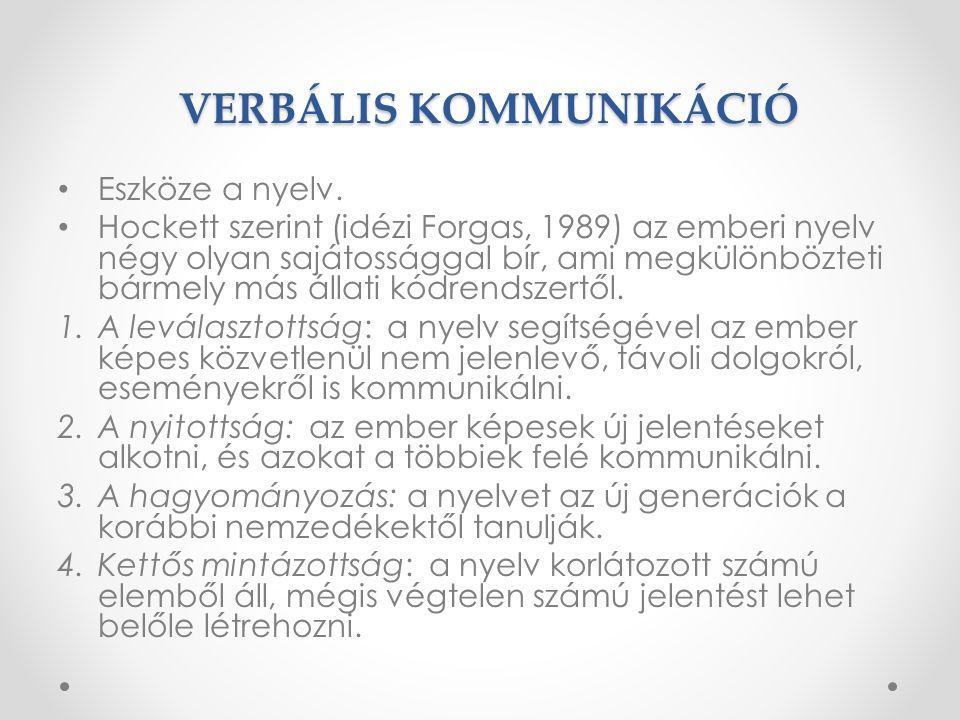 VERBÁLIS KOMMUNIKÁCIÓ