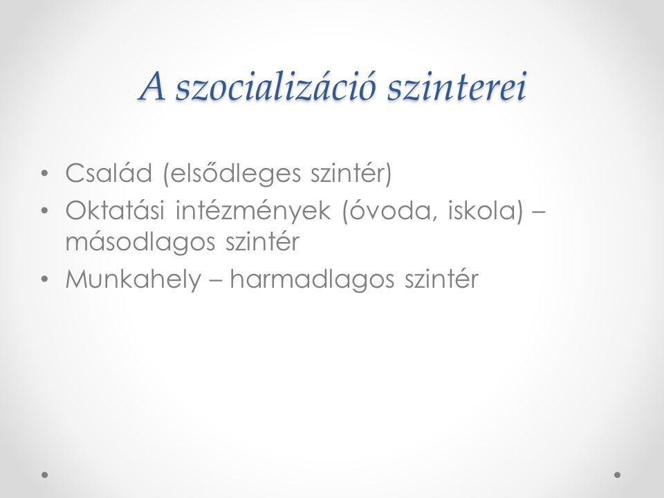 A szocializáció szinterei