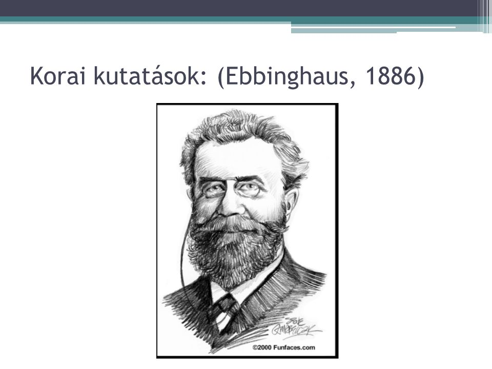 Korai kutatások: (Ebbinghaus, 1886)