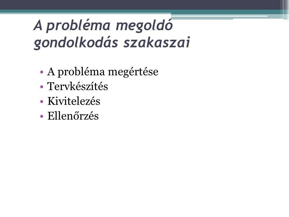 A probléma megoldó gondolkodás szakaszai