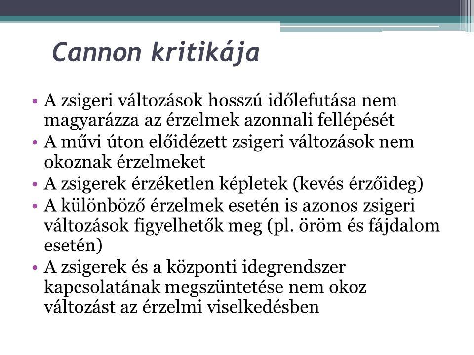 Cannon kritikája A zsigeri változások hosszú időlefutása nem magyarázza az érzelmek azonnali fellépését.