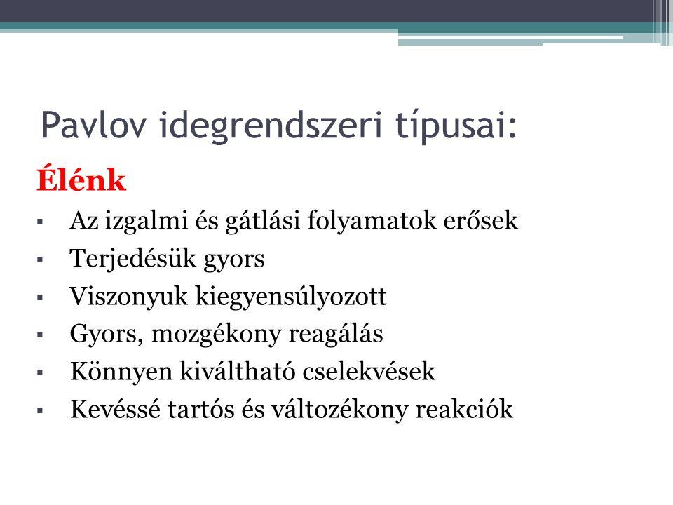 Pavlov idegrendszeri típusai: