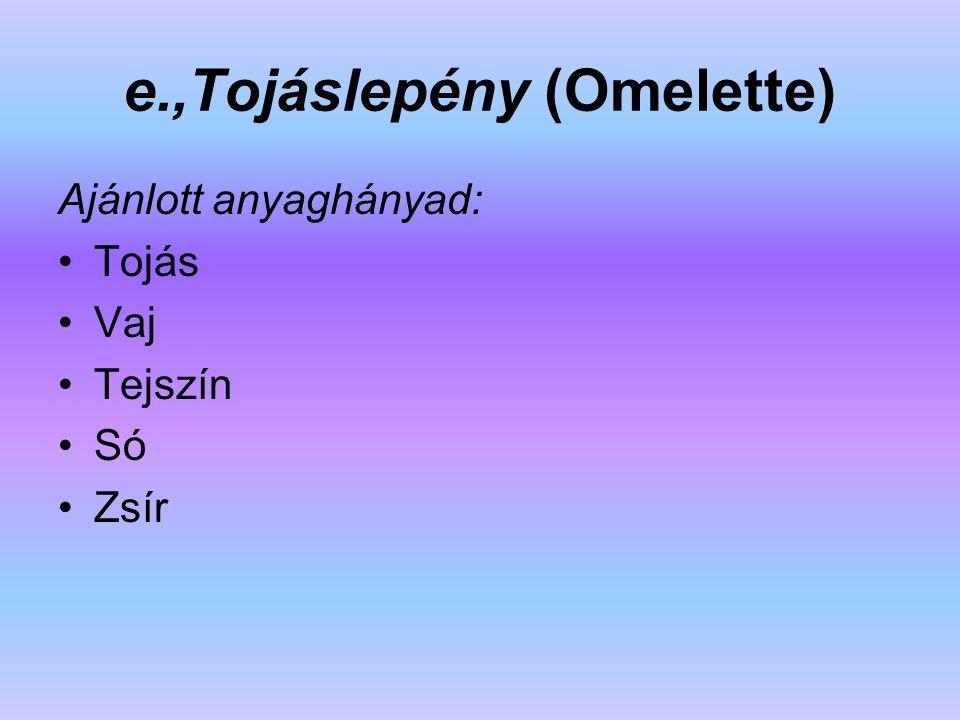 e.,Tojáslepény (Omelette)