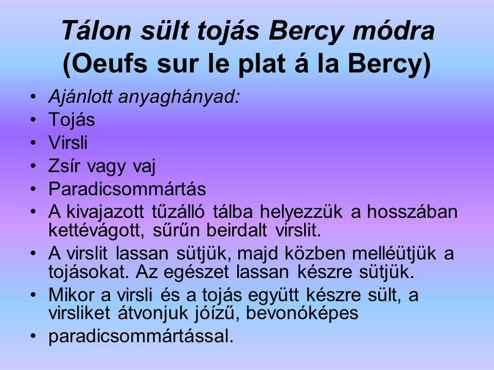 Tálon sült tojás Bercy módra (Oeufs sur le plat á la Bercy)
