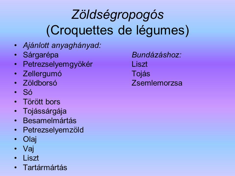 Zöldségropogós (Croquettes de légumes)
