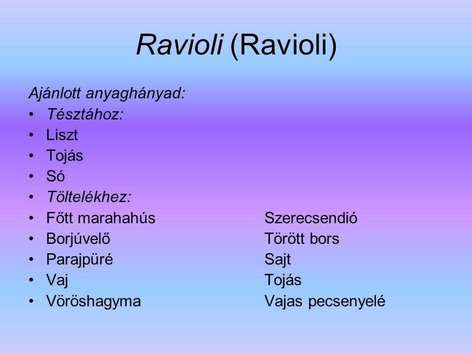 Ravioli (Ravioli) Ajánlott anyaghányad: Tésztához: Liszt Tojás Só