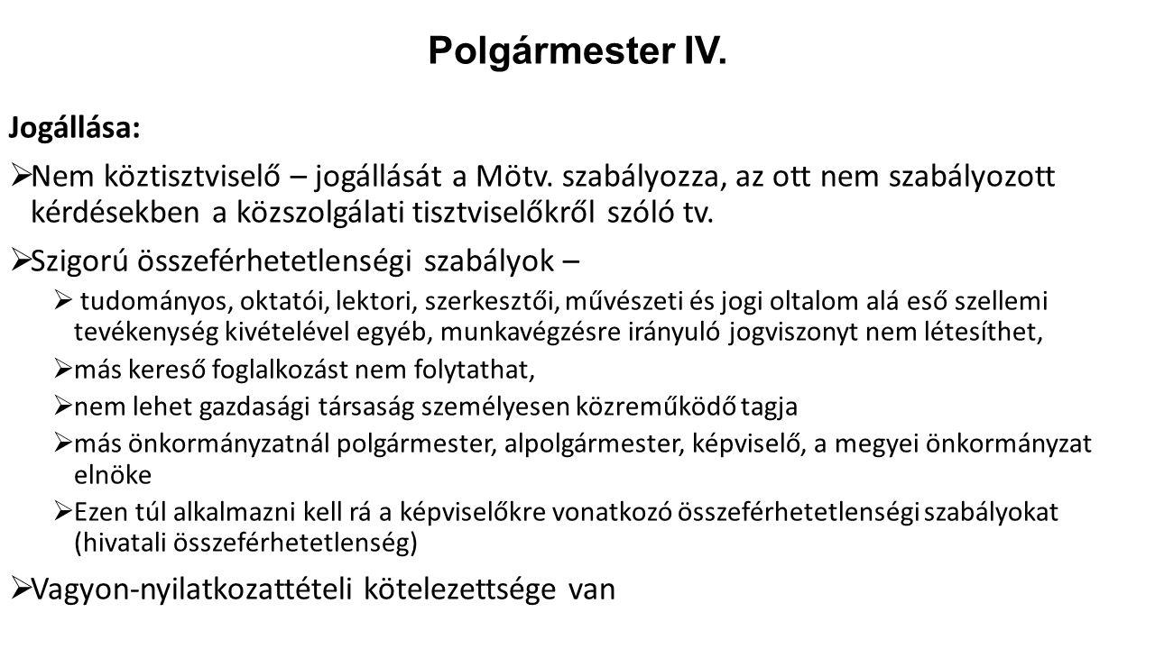 Polgármester IV. Jogállása: