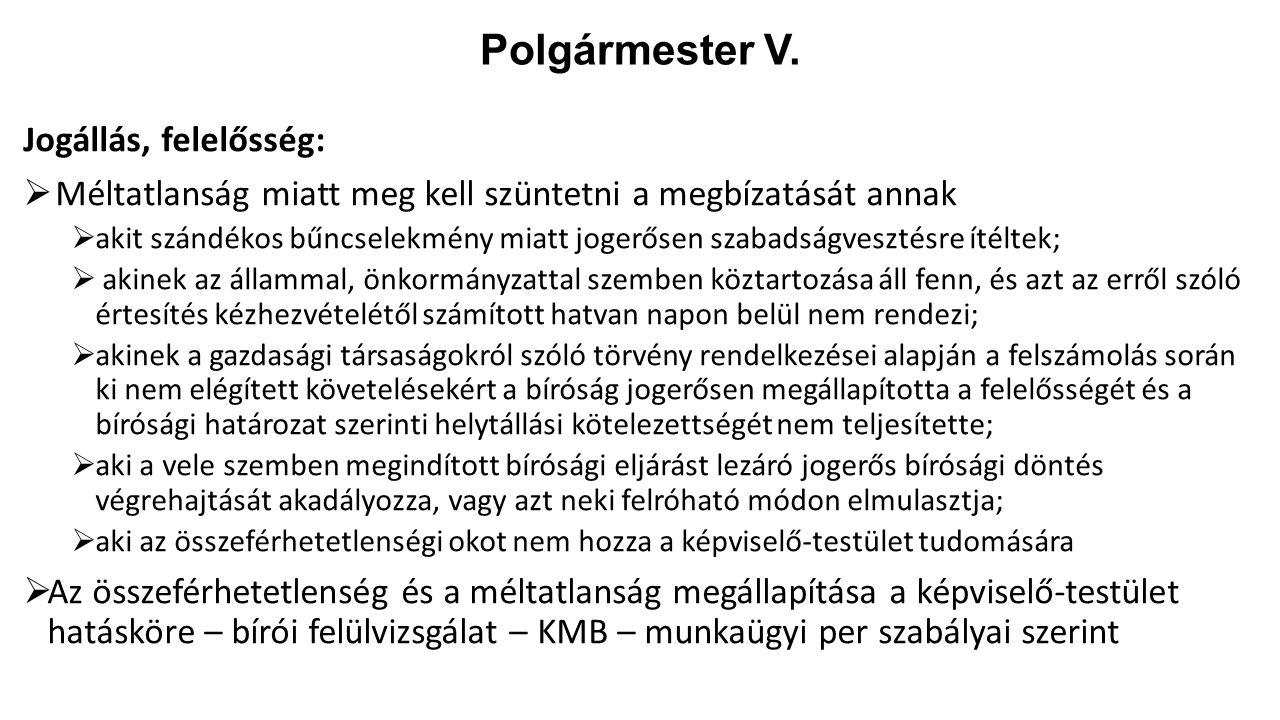 Polgármester V. Jogállás, felelősség: