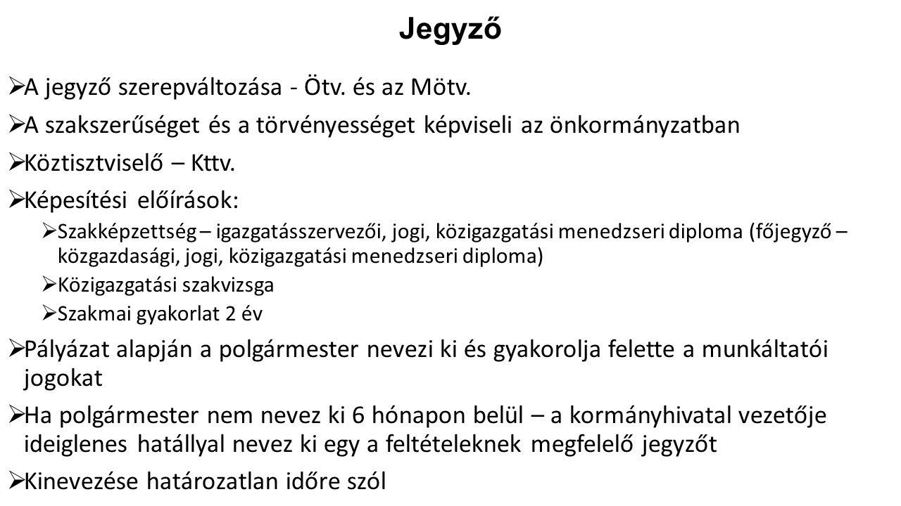 Jegyző A jegyző szerepváltozása - Ötv. és az Mötv.