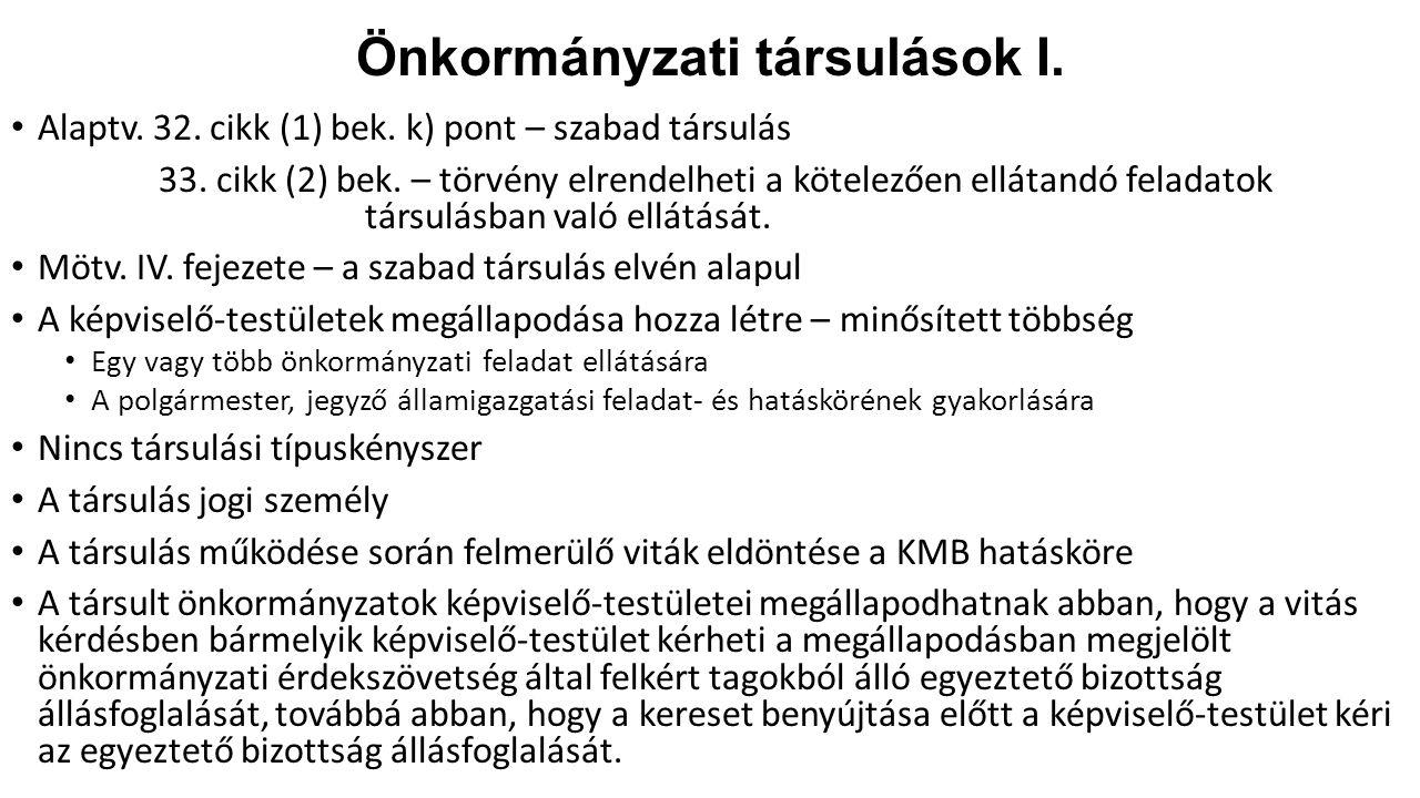 Önkormányzati társulások I.