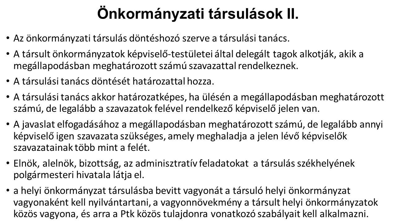 Önkormányzati társulások II.