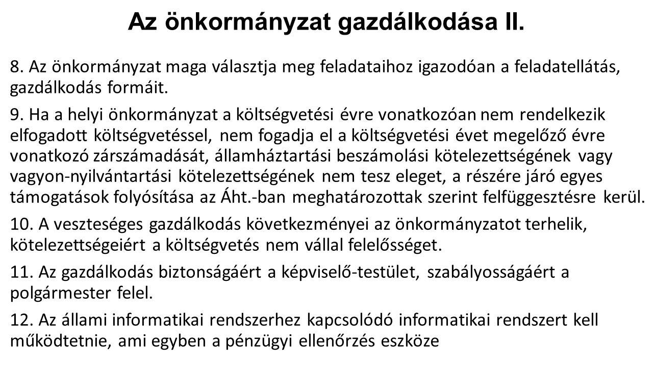 Az önkormányzat gazdálkodása II.