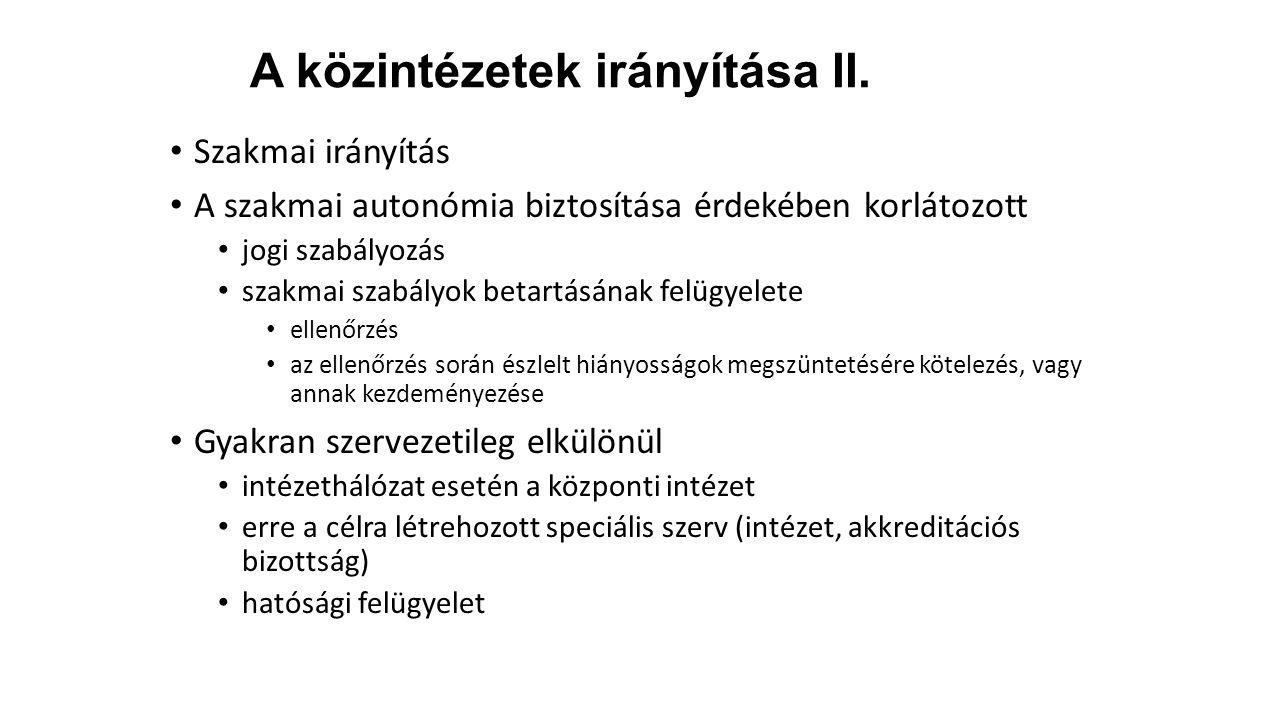 A közintézetek irányítása II.