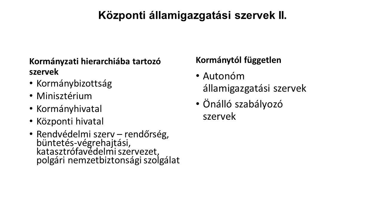 Központi államigazgatási szervek II.