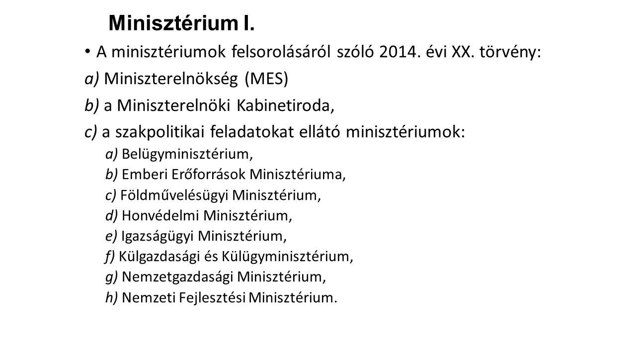 Minisztérium I. A minisztériumok felsorolásáról szóló 2014. évi XX. törvény: a) Miniszterelnökség (MES)