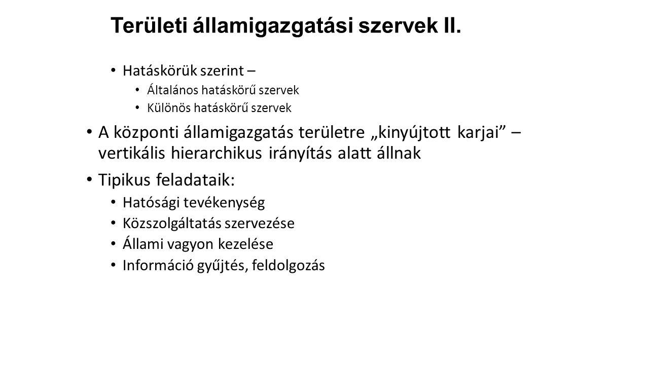 Területi államigazgatási szervek II.