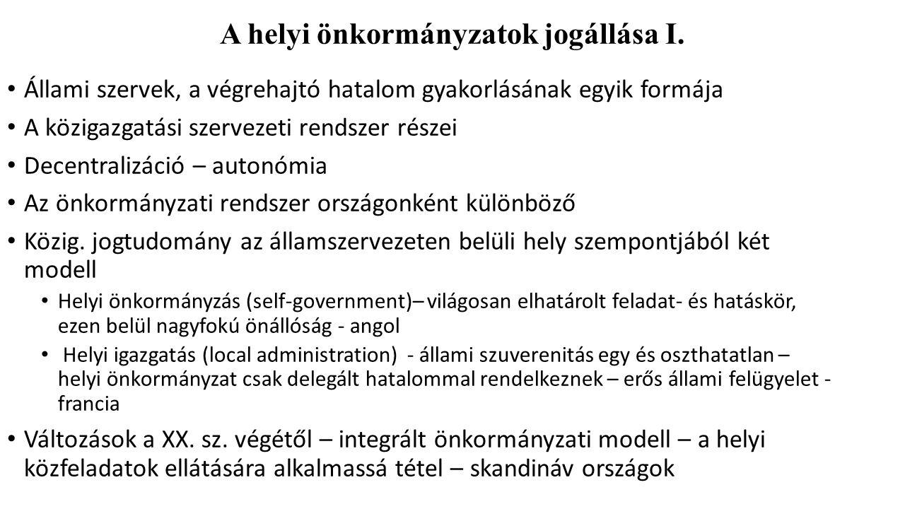 A helyi önkormányzatok jogállása I.