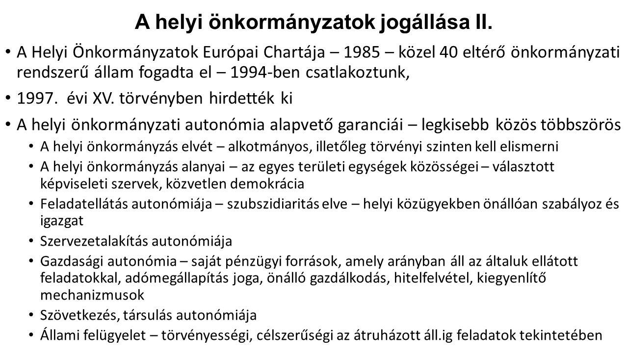 A helyi önkormányzatok jogállása II.
