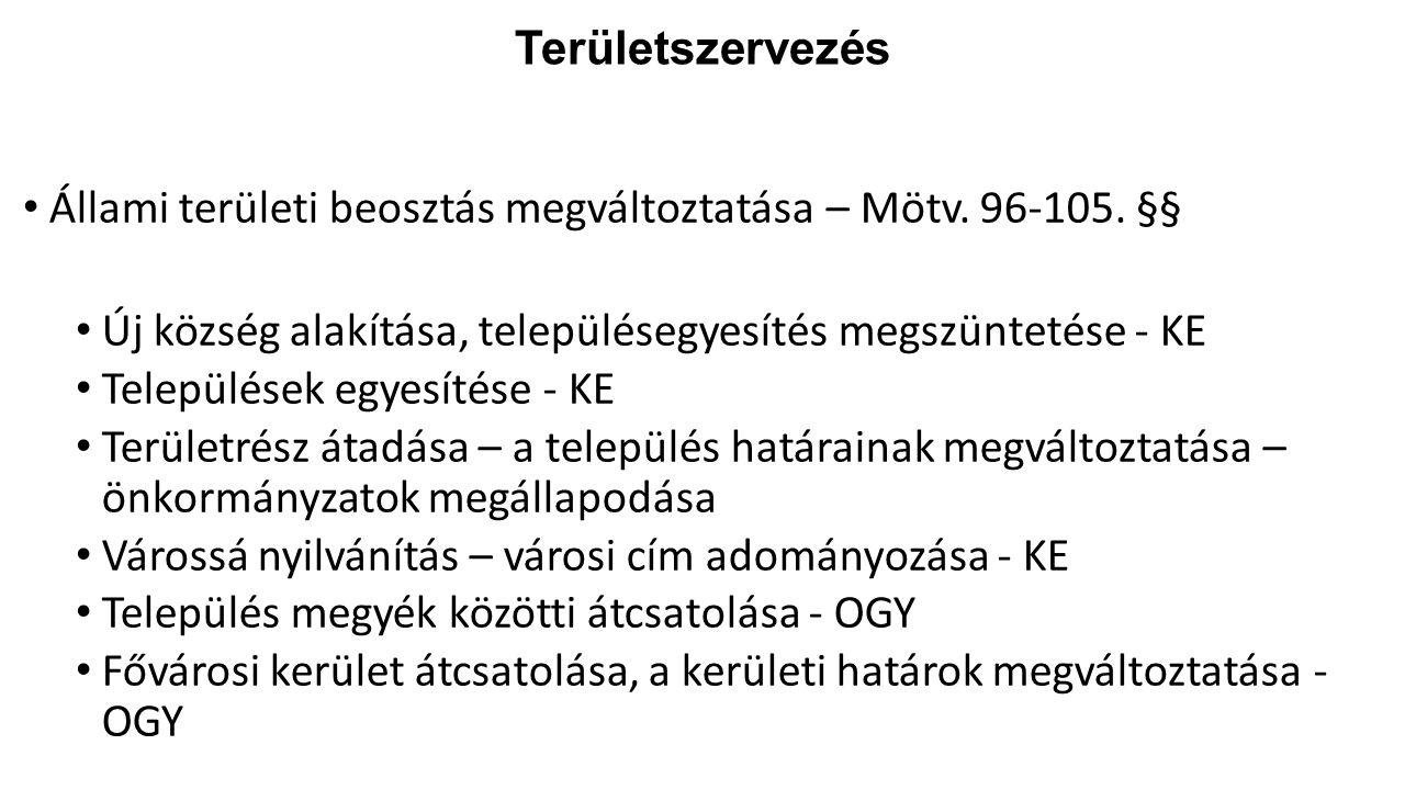 Területszervezés Állami területi beosztás megváltoztatása – Mötv. 96-105. §§ Új község alakítása, településegyesítés megszüntetése - KE.