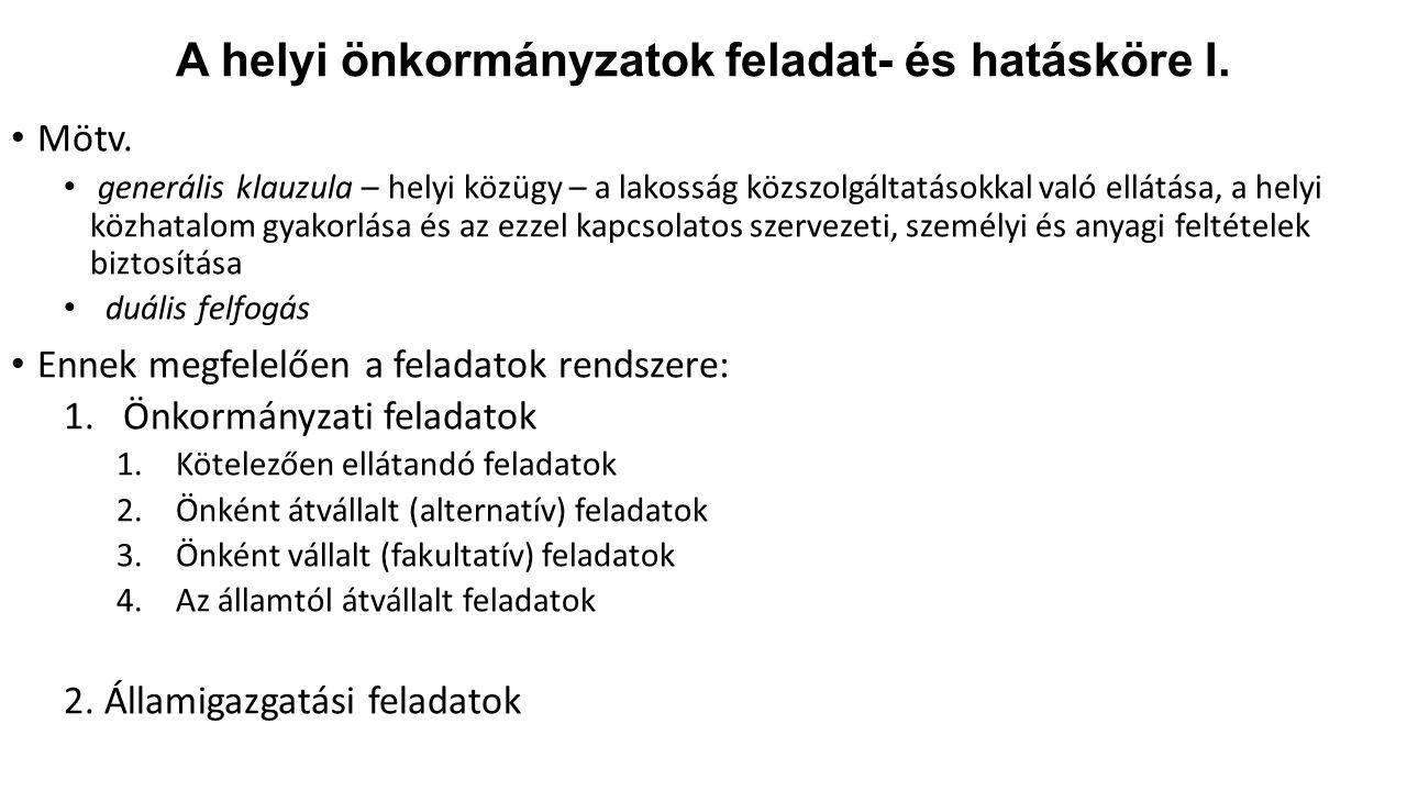 A helyi önkormányzatok feladat- és hatásköre I.